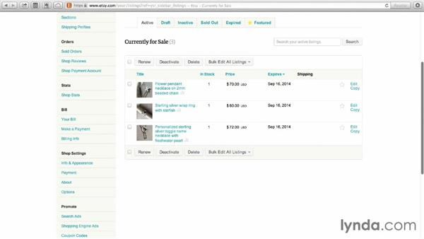 Using the Listings Manager to add and update items: Selling on Etsy