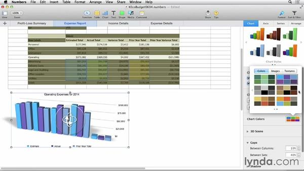 Formatting general chart attributes: Numbers 3 Essential Training