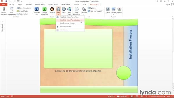 Inserting video from a file: Up and Running with Articulate Studio '13