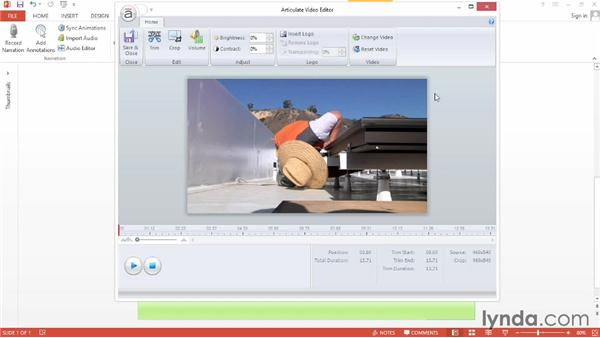 Editing video: Up and Running with Articulate Studio '13