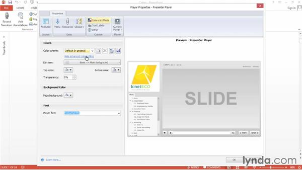 Editing player colors: Up and Running with Articulate Studio '13