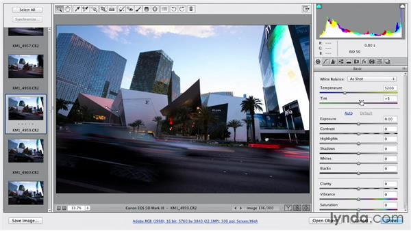 Adjusting the raw files with Camera Raw: Shooting a Time-Lapse Movie with the Camera in Motion