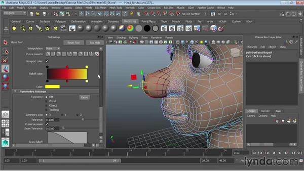 Using Soft Select and reflection: Maya 2015 Essential Training