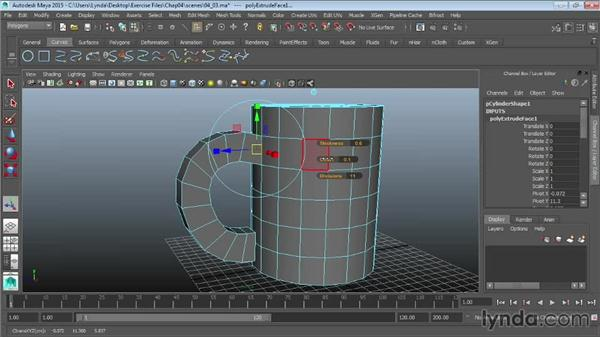 Extruding along a path: Maya 2015 Essential Training