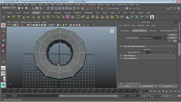 Using Edge Flow to smooth geometry: Maya 2015 Essential Training