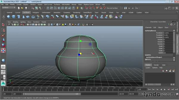 Using isoparms to refine NURBS surfaces: Maya 2015 Essential Training