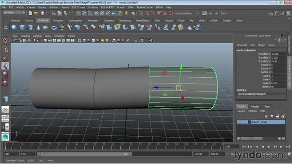 Extracting NURBS curves from surfaces: Maya 2015 Essential Training