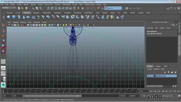 Creating curves on a surface: Maya 2015 Essential Training