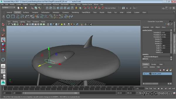 Projecting curves on surfaces: Maya 2015 Essential Training