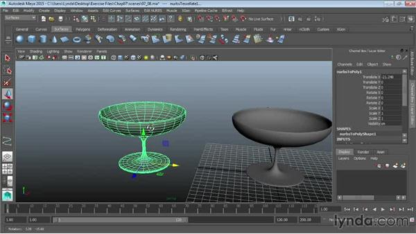 Converting NURBS to polygons: Maya 2015 Essential Training