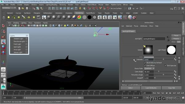 Lights and lighting types in Maya: Maya 2015 Essential Training