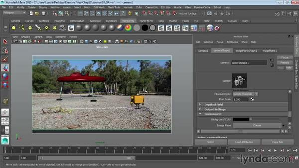 Rendering to existing footage using image planes: Maya 2015 Essential Training
