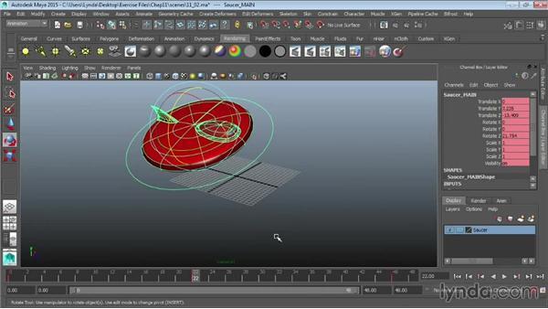Animating objects using Set Key: Maya 2015 Essential Training