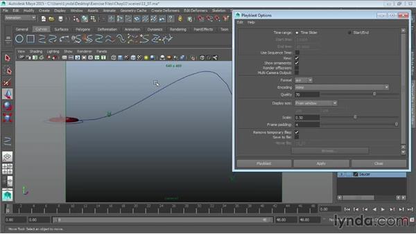 Animation playback using Playblast: Maya 2015 Essential Training