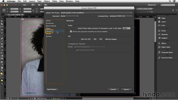 Less common changes to PDF presets: InDesign Insider Training: Print PDFs