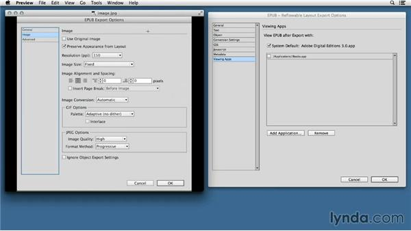 Comparing the previous and updated EPUB Export Options dialog boxes: InDesign CC: EPUB Fundamentals