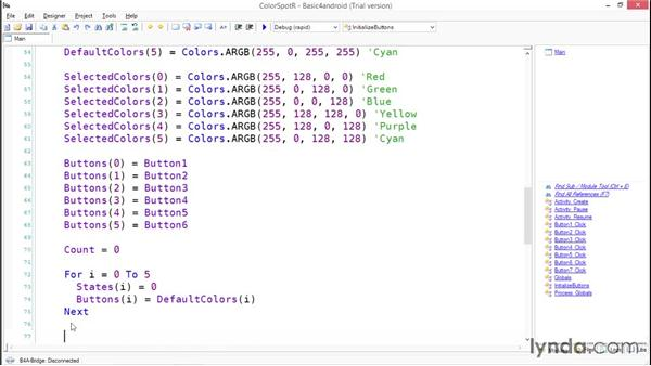 Programming the ColorSpotR logic in Basic: Simple Android Development Tools
