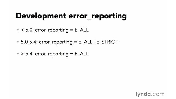 Configure error reporting: Creating Secure PHP Websites