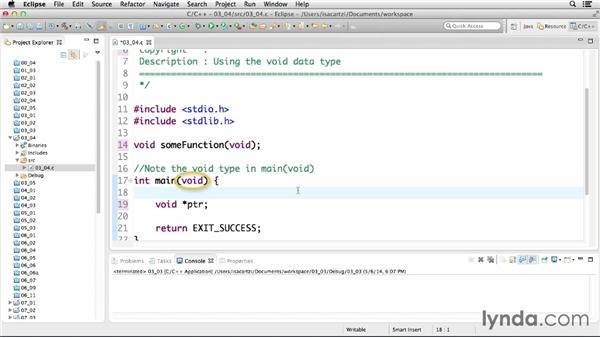Using the void data type: C Essential Training