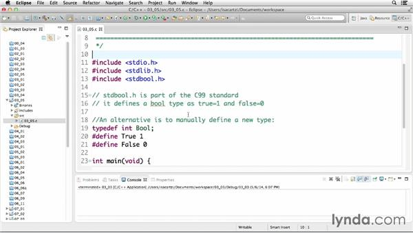 Declaring and using Boolean types: C Essential Training