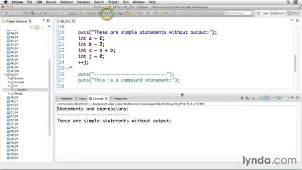Understanding the relationship between statements and expressions: C Essential Training