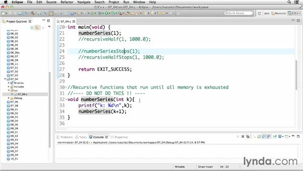 Working with recursion: C Essential Training