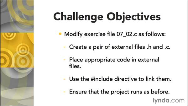 Challenge: Implement an external library: C Essential Training