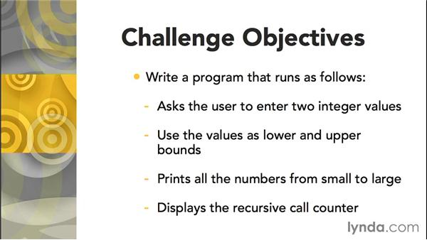 Challenge: Print a range of numbers: C Essential Training