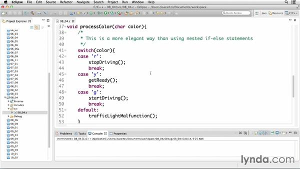 Building complex decision statements with switch statements: C Essential Training