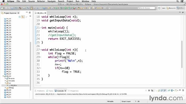Using while loops: C Essential Training