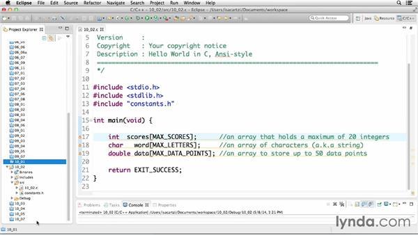 Declaring arrays: C Essential Training