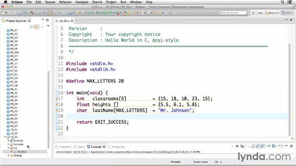 Initializing arrays: C Essential Training