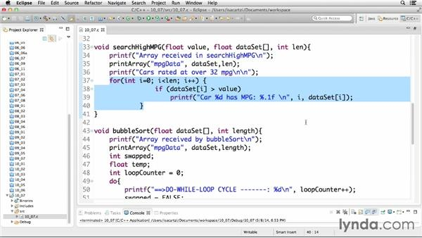 Using loops for searching and sorting: C Essential Training