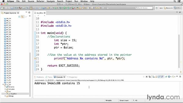 Using a pointer variable: C Essential Training