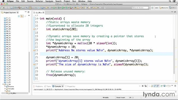Managing memory using allocation and release: C Essential Training