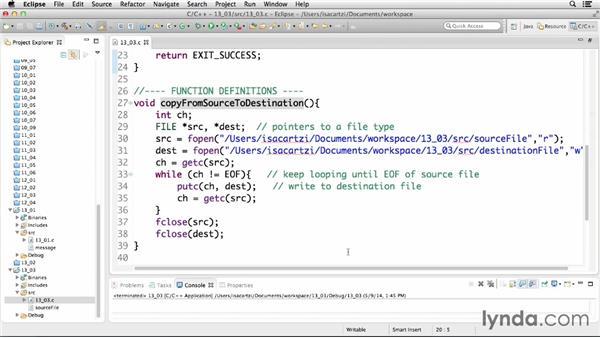 Exploring file access modes: C Essential Training