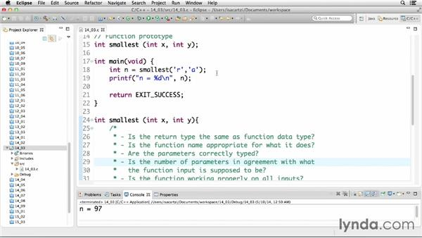 Understanding the components of a function: C Essential Training