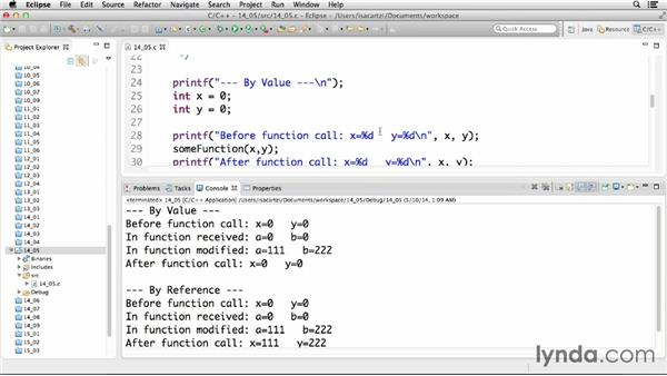 Passing variables to functions: C Essential Training