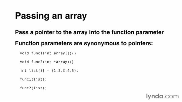 Passing an array to a function: C Essential Training