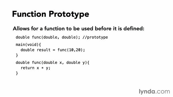 Defining a prototype of a function: C Essential Training