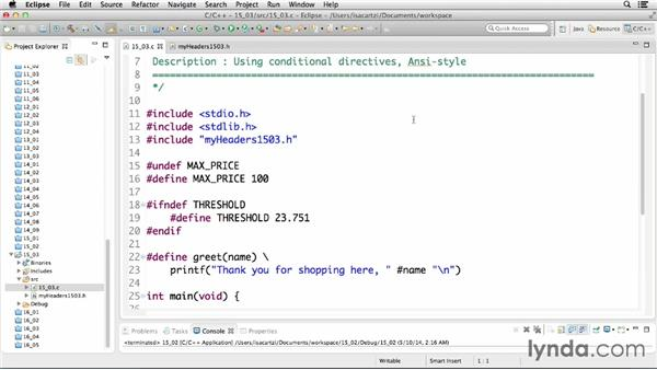 Using conditional directives: C Essential Training