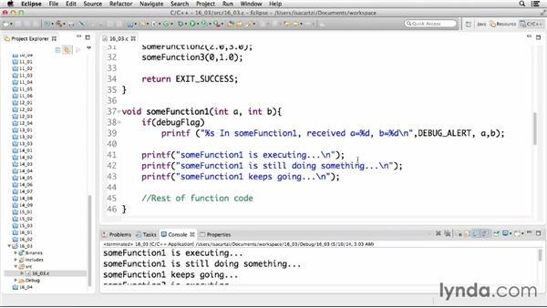 Implementing debugging techniques: C Essential Training