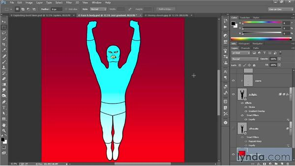 Adding complementary colored clouds: Designing a Retro-Style Superhero