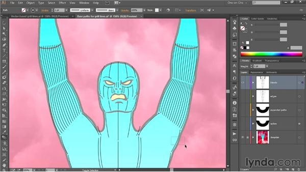 Blending the grill lines in Illustrator: Designing a Retro-Style Superhero