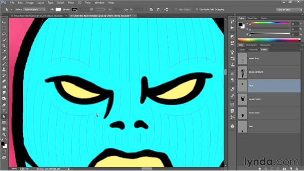 Contouring the grill lines onto the face: Designing a Retro-Style Superhero