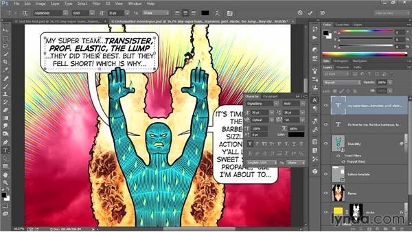 Formatting the monologue text: Designing a Retro-Style Superhero