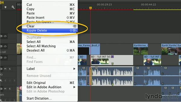 Ways of deleting on the Timeline: Premiere Pro Guru: Essential Keyboard Shortcuts