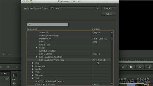 Adding and changing shortcuts: Premiere Pro Guru: Essential Keyboard Shortcuts