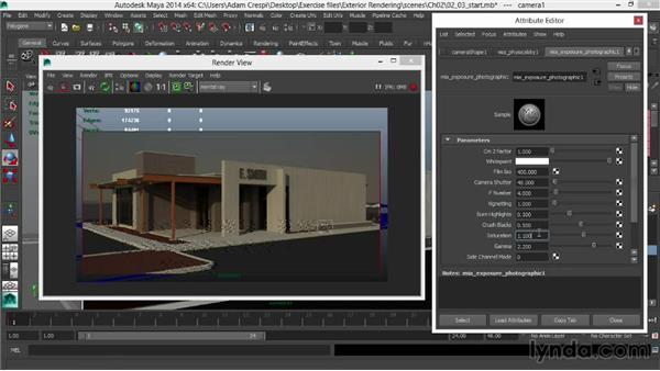 Adjusting the Photographic Exposure for stylized imagery: Rendering Exteriors in Maya
