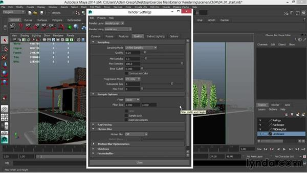 Rendering and optimizing rendering: Rendering Exteriors in Maya